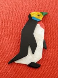 LEA STEIN  Penguin Brooch - Yellow face, Green Beak and Black Flippers! (SOLD)