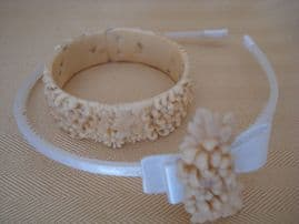 Lovely old Faux Ivory Chrysanthemum Bracelet with  Matching Hairband