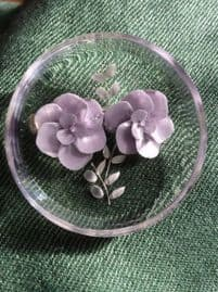 Lucite Brooch from the 40s to 50s Era with Two Pale Mauve Flowers