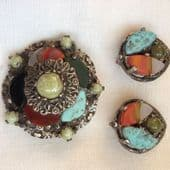 Miracle Brooch and Matching Earrings - Demi parure - Vintage