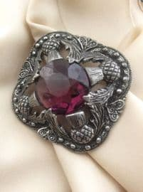 Miracle Creations Scottish Brooch - Vintage -  Purple Central Jewel Thistle Detail (SOLD)