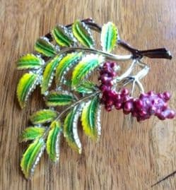 Mountain Ash Brooch by Exquisite - Realistic Rowan Tree Pin from 1960s