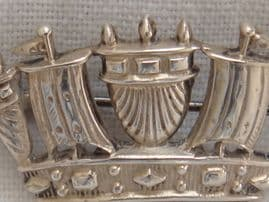Naval Crown Brooch- Large - Sterling Silver- Page of Plymouth Hallmarked: Birmingham 1939 (Sold)