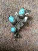 Oak Leaf with Acorns brooch - vintage pin by Miracle - Silvertone with Faux Turquoise
