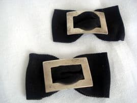 Pair of Sterling Silver Shoe Buckles on Black Taffeta - 1930s (SOLD)