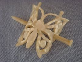 Pearly 1940s Butterfly Barrette Hair Ornament plus Kirby Grips - On Card  (SOLD)