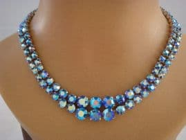 Petrol Blue Vintage Diamante Necklace - 1950s - 1960s Austrian Crystal Necklace (SOLD)