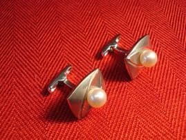 Rhodium Finished Silver and Cultured Pearl Cufflinks Circa 1970s(SOLD)