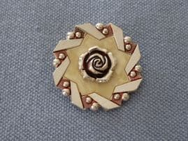 Scarf Clip -  Pink Toned Aluminium with Cream Star and Rose detail (SOLD)