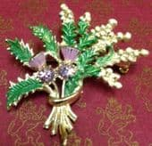 Scottish Style 1960s Brooch - Lucky White Heather with Purple Jewels by Exquisite (SOLD)