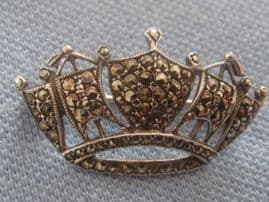 Silver and Marcasite Naval  Crown Brooch Pin - Vintage Hallmarked 1965 (SOLD)