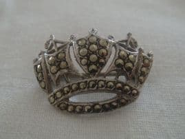 Silver and Marcasite Naval Crown Brooch Pin - Vintage - London Hallmark 1957(SOLD)