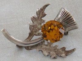 Silver Thistle Brooch with yellow jewel - Vintage Retro Pin (sold)
