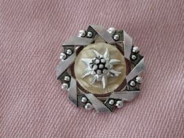 SOLD  1950s Scarf Clip - Aluminium Metal with Eidelweiss Flower