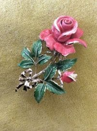 SOLD 1960's Pink Rose Brooch - Signed Exquisite Pin offered on Original Display Card