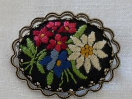SOLD Alpine Flowers Brooch - Embroidered brooch from Austria or Switzerland (SOLD)