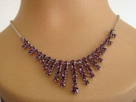 SOLD Amethyst Glass Art Deco Style Necklace - Circa 1960s