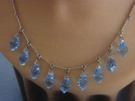 SOLD Art Deco Blue Crystal Necklace - Faceted Crystal Drops