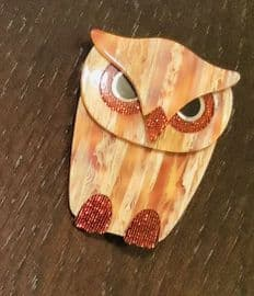 SOLD  Buba The Owl - Brooch by Lea Stein of Paris - brown with red sparkle