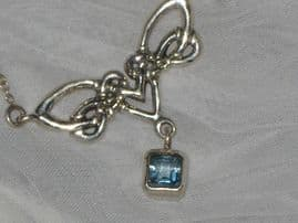 SOLD  Celtic Style Silver Necklace with Blue Crystal Drop