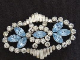 SOLD Deco 1940s Diamante and Blue Stone Brooch - Gorgeous (SOLD)