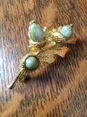Sold  Oak Leaf with Acorns Brooch - vintage pin by Miracle - Goldtone with Green  Acorns