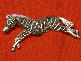 SOLD  Silver and Marcasite Zebra Brooch