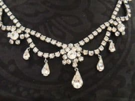 SOLD  Vintage Diamante Necklace with Swag, Flower and Peardrop Detail