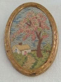 SOLD. 1940s - 1950 Pin - Hand-embroidered brooch - Thatched Cottage and tree (Sold)