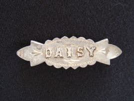 SOLD. DAISY - Sterling Silver Name Pin - 1913