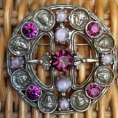 SOLD. Miracle Celtic Brooch with Pendant Loop and Mask Face Detail - Vintage -Unusual