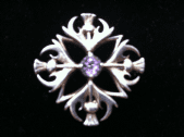 SOLD. Ola Gorie Silver Thistle Brooch or Pendant set with Real Amethyst Jewel