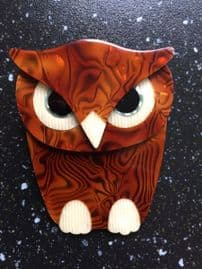 Super Buba The Owl - Brooch by Lea Stein of Paris - Hey Brown Owl! (SOLD)