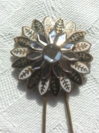 Vauxhall Mirror Glass Hair Pin  Early 19th Century