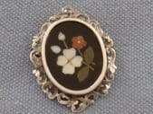Victorian Brooch - 19th Century Peitra Dura Brooch in Sterling Silver (sold)