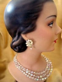Vintage Austrian Crystal Necklace and Earclips - late 1950's/Early 1960's (SOLD)