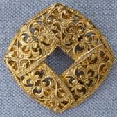 Vintage Baroque Style Filigree Scarf Clip in Gold Plated Metal (SOLD)