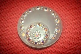 Vintage Celluloid and Austrian Crystal Pearlised Button Clip-on Earrings