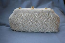 Vintage Clutch Purse of Evening Bag 1950s - 1960s Sequins and Beads in a Trellis Pattern