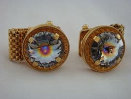 Vintage Cufflinks -  1970s Real BLING design! Gold plated Cufflinks set with Austrian Crystal (sold)