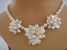 Vintage Floral Pearl Necklace - 1940s Necklace - Bridal Necklace
