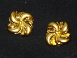Vintage Gold Plated Clip on Earrings by Monet