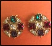Vintage Gold Plated Jewelled Earclips by Atwood and Sawyer