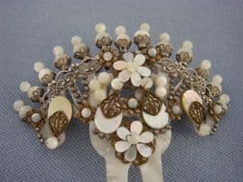 Vintage Hair Comb in Mother of Pearl   by the Design House Dublos of Spain