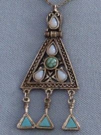 Vintage Miracle Pendant Necklace with Faux Turquoise Jewels (SOLD)