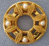 Vintage Scarf Clip or Scarf Ring - Gold plated metal with Faux Pearls (sold)