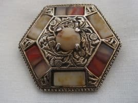 Vintage Signed Miracle Brooch - Hexagon Shaped - Thistle Details (sold)