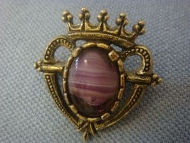 Vintage Signed Miracle Brooch - Luckenbooth Heart Brooch - Purple Stone Brooch (SOLD)