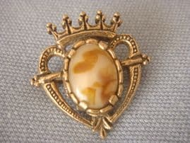 Vintage signed Miracle Brooch - Luckenbooth Heart-Caramel Brown Stone Brooch  (SOLD)