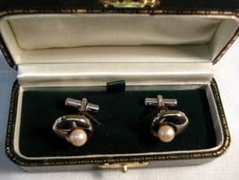 Vintage Silver and Cultured Pearl Cufflinks (SOLD)